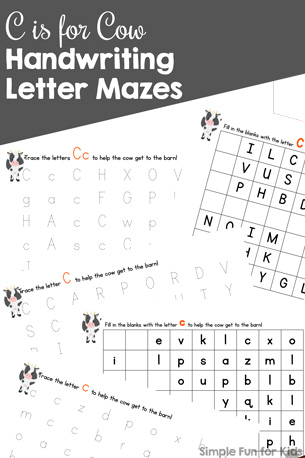 C is for Cow Handwriting Letter Mazes Printable
