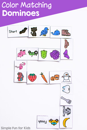 Color Matching Dominoes Printable