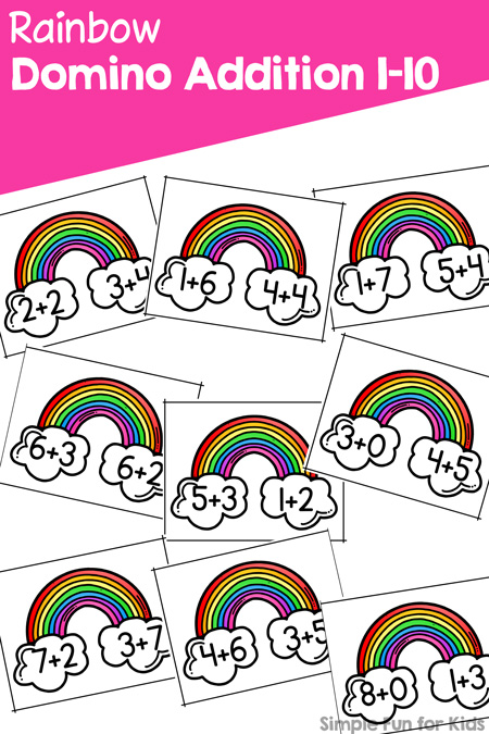 Practice your addition facts up to 10 with this cute printable Rainbow Domino Addition activity! Perfect for kindergarteners and first graders who compare the different number bonds.