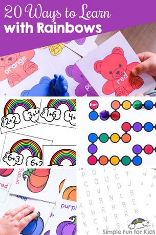 Rainbows are a super fun theme for learning with young kids! Check out these 20 Ways to Learn with Rainbows, perfect for working on literacy and math with toddlers, preschoolers, and kindergarteners.