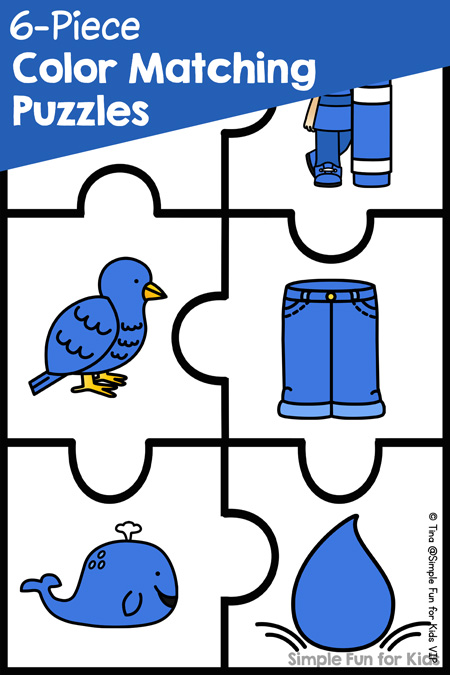 image about Printable Puzzles for Preschoolers referred to as 6-Piece Shade Matching Puzzles - Very simple Enjoyment for Little ones
