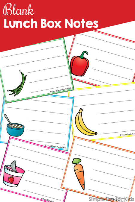picture about Printable Note named Blank Lunch Box Notes - Straightforward Enjoyable for Small children