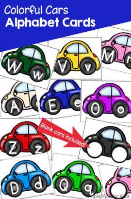 Colorful Cars Alphabet Cards Printable