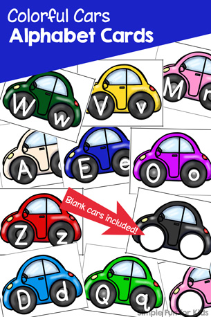 Colorful Cars Alphabet Cards Printable