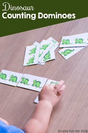 Play a quick and simple game to practice counting! Your preschooler or kindergartener will enjoy this cute printable Dinosaur Counting Dominoes game.