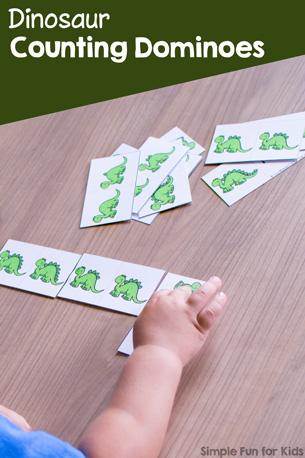 Dinosaur Counting Dominoes Printable