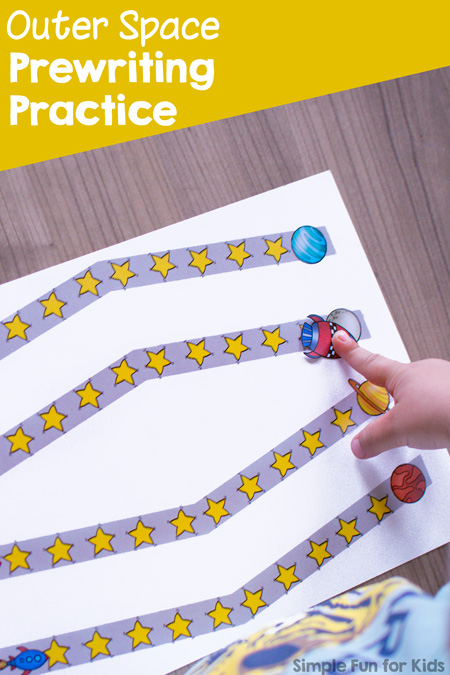 Practice left to right progression and tracing a line with this cute Outer Space Prewriting Practice Printable! Includes straight lines, zigzag lines, and curved lines for different skill levels. Toddlers and preschoolers can practice moving the spaceships to their destination planets!