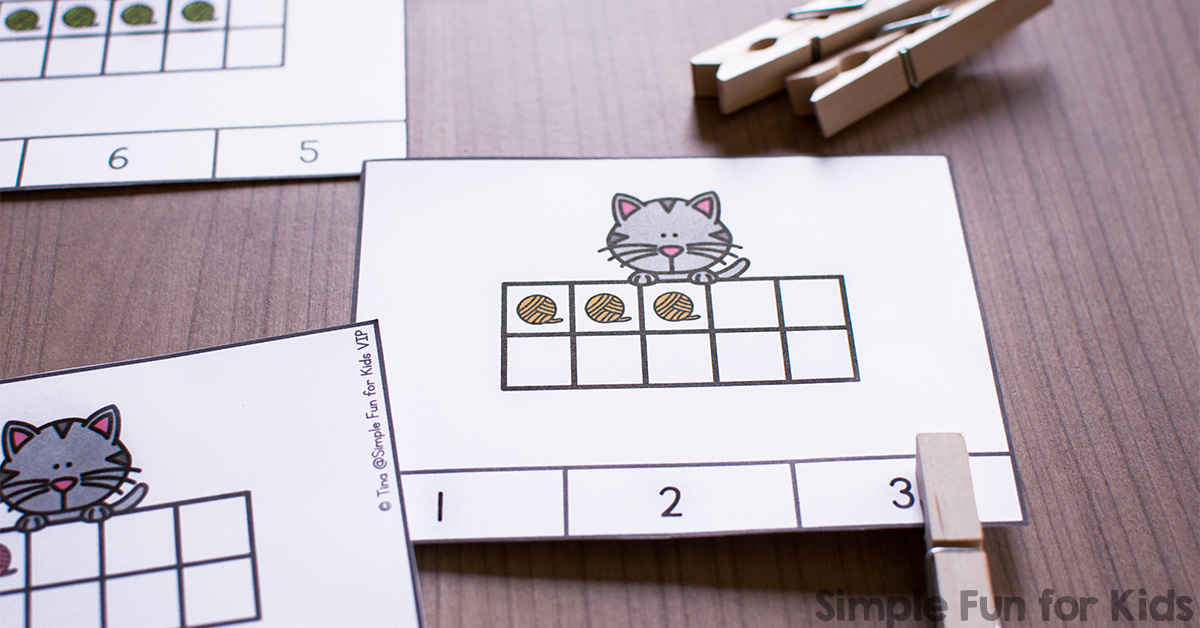 Cat And Yarn 10 Frame Counting Clip Cards Simple Fun For Kids