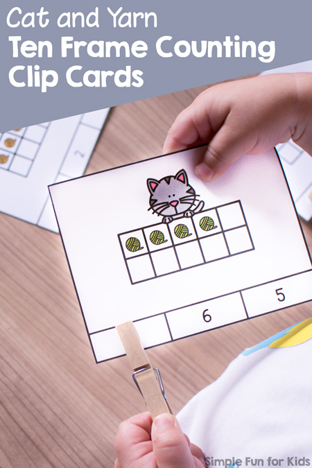 Fun counting and fine motor practice for preschoolers with this set of cute printable Cat and Yarn 10 Frame Counting Clip Cards.
