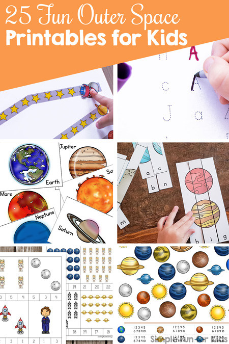 Learn math, literacy, and more with these fun outer space printables for kids! There's something for toddlers, preschoolers, kindergarteners, and elementary students.