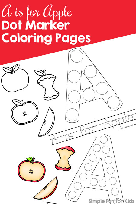 Study the letter a with this cute set of printable a is for apple dot marker