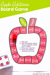 Have fun while practicing addition with a simple die game: Cute printable no prep Apple Addition Board Game for kindergarteners and first graders! (Optional apple dice templates included.)