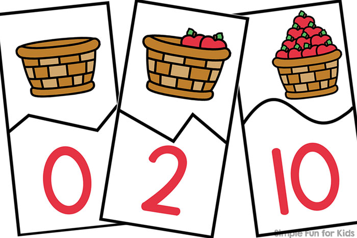 Practice counting and fine motor skills with these printable Apple Basket Counting Puzzles! This printable covers numbers 0 through 10 for preschoolers and kindergarteners and is a part of the 7 Days of Apple Printables for Kids series.