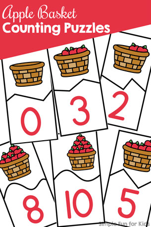 Apple Basket Counting Puzzles Printable