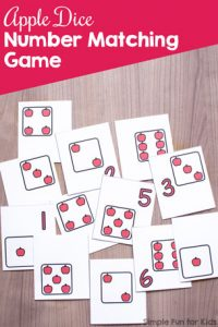 Practice number recognition with numerals and dice faces with this printable Apple Dice Number Matching Game! Perfect for toddlers and preschoolers with its limited number of matches. For older kids, simply use multiple copies of each page.