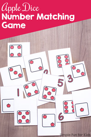 Apple Dice Number Matching Game {Day 3 of Apple Printables}