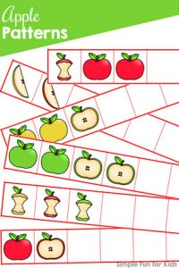 Cut and paste simple patterns with this fall-themed Apple Patterns printable! Perfect for preschoolers and kindergarteners who can work on fine motor cutting skills and basic math at the same time. (Part of the 7 Days of Apple Printables for Kids series.)