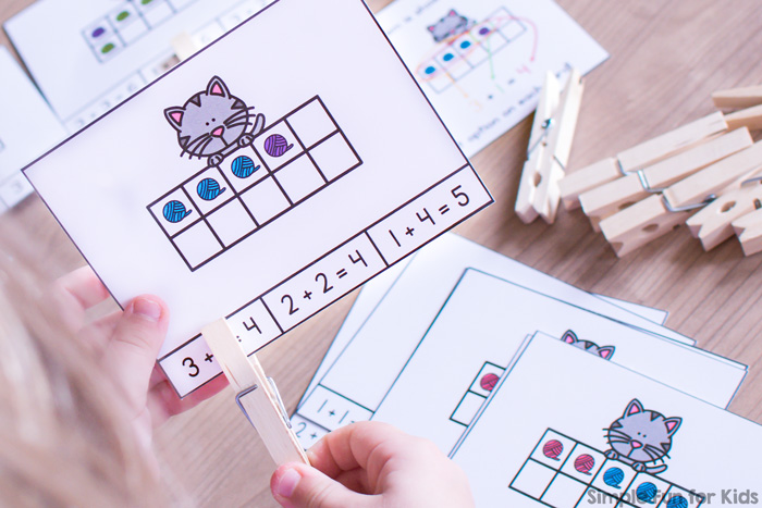 Practice making addition sentences with these cute Cat and Yarn 10 Frame Addition Clip Cards! Perfect for kindergarten math centers.