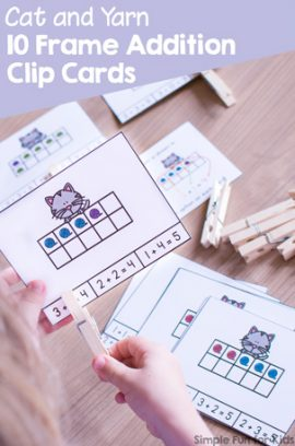 Cat and Yarn 10 Frame Addition Clip Cards