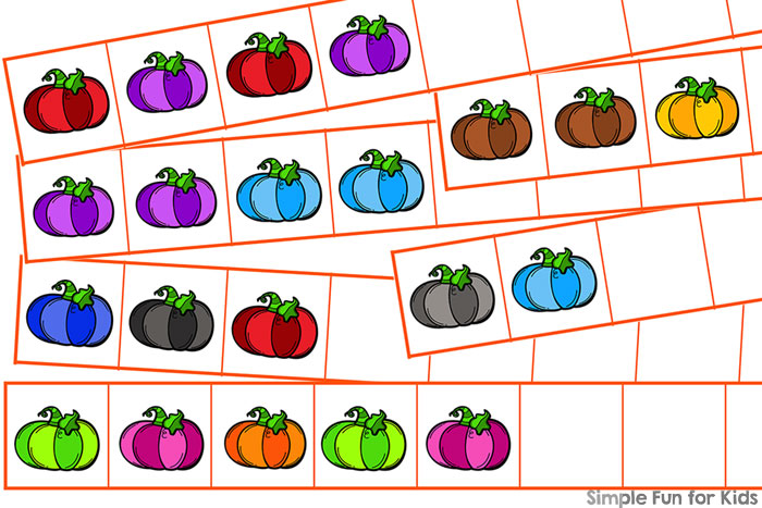 Practice simple patterns and fine motor skills by cutting and pasting these Colorful Pumpkin Patterns! Basic math skills, part of the 7 Days of Pumpkin Printables for Kids series.