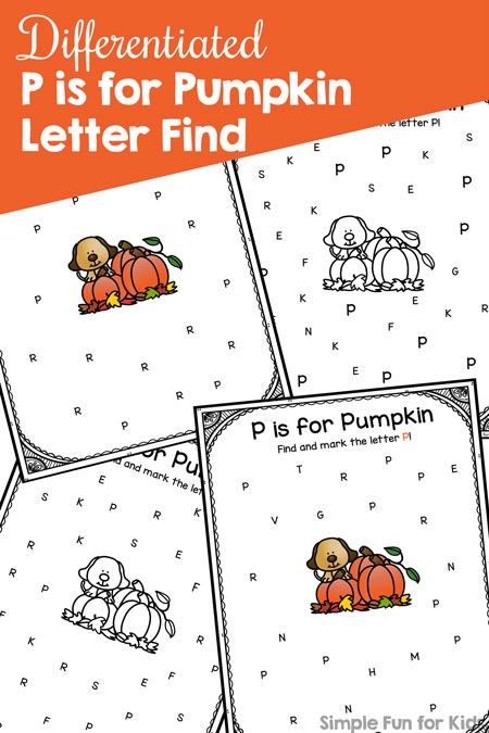 Learn and review the letter P with these Differentiated P is for Pumpkin Letter Find printables! Perfect no prep literacy practice for preschoolers and kindergarteners, and part of the 7 Days of Pumpkin Printables series.