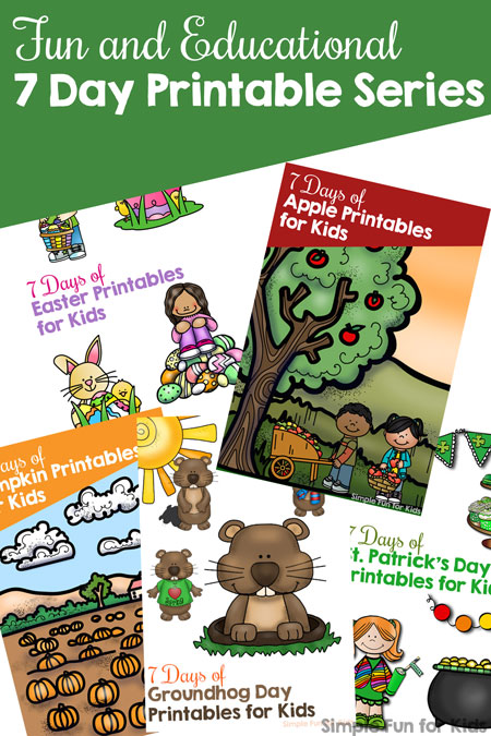 My readers love my fun and educational 7 day printable series! They each include learning activities for toddlers, preschoolers, and kindergarteners covering different math and literacy themes. Perfect for unit studies, or pick and choose what works for you.