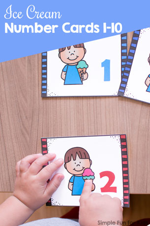 Use them as flash cards, counting cards, memory cards, or anything else you can think of: Cute printable Ice Cream Number Cards 1-10 for preschoolers and toddlers!