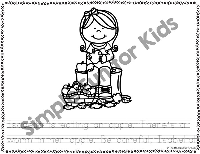 So cute! Kids and Apples Emergent Reader Coloring Pages, perfect for fall and for coloring, reading, tracing, and more! {Part of the 7 Days of Apple Printables for Kids series.}