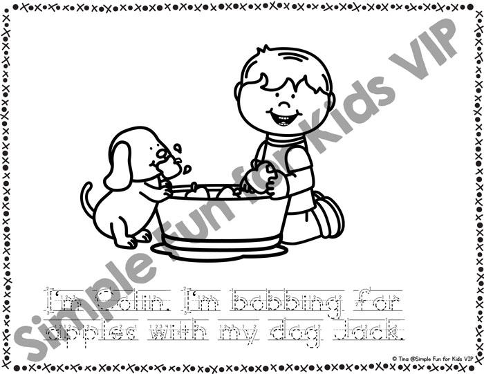 Kids and Apples Emergent Reader Coloring Pages - Simple Fun for Kids