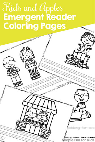 Kids and Apples Emergent Reader Coloring Pages Printable