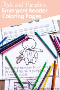 Practice reading, handwriting, and fine motor skills with these cute Kids and Pumpkins Emergent Reader Coloring Pages! Great for all ages from toddlers to first graders, and part of the 7 Days of Pumpkin Printables series.
