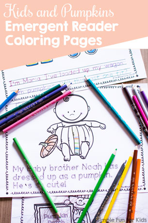 Kids and Pumpkins Emergent Reader Coloring Pages