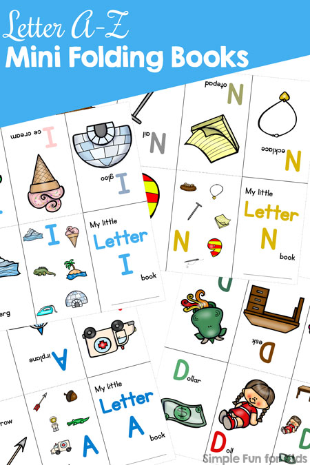 Here by popular demand: All of the Letter A-Z Mini Folding Books in one file! Learn the alphabet with these simple, colorful books for toddlers, preschoolers, and kindergarteners.
