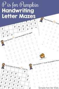 Practice writing the letter P in both upper and lowercase with these cute P is for Pumpkin Handwriting Letter Mazes! Includes both tracing and fill-in-the-blank versions. The VIP edition also includes black and white pages.
