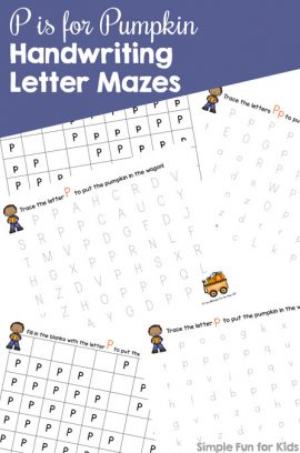 P is for Pumpkin Handwriting Letter Mazes Printable