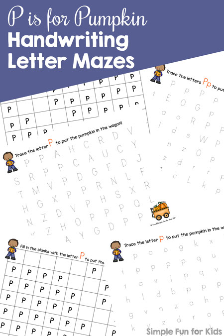 P is for Pumpkin Handwriting Letter Mazes