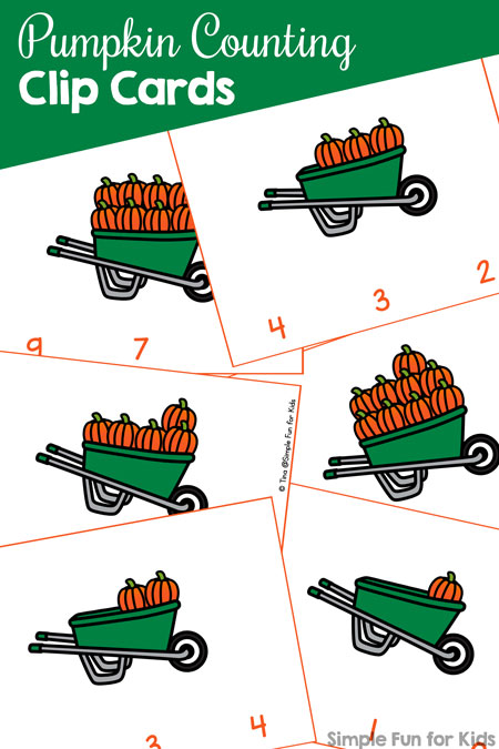 Practice counting up to 10 and fine motor skills with these cute printable Pumpkin Counting Clip Cards. Perfect for preschoolers and part of the 7 Days of Pumpkin Printables series.