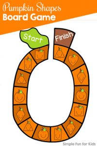 Have fun learning and reviewing shape recognition with this cute printable Pumpkin Shapes Board Game! Perfect for toddlers and preschoolers and part of the 7 Days of Pumpkin Printables for Kids series on Simple Fun for Kids.