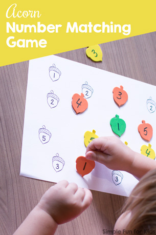 Acorn Number Matching Game Printable
