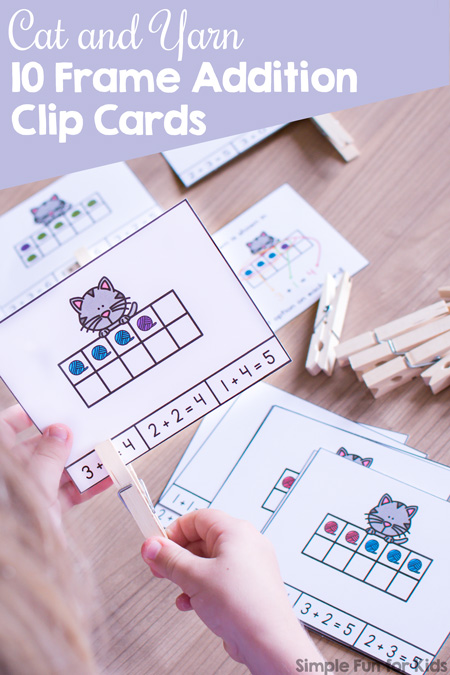 photograph relating to Making 10 Games Printable known as Cat and Yarn 10 Body Addition Clip Playing cards - Easy Enjoyable for Young children