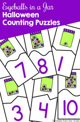 Eyeballs in a Jar Halloween Counting Puzzles Printable