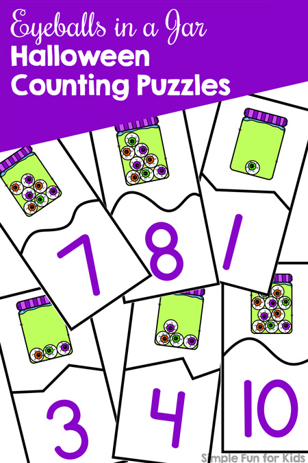 Practice counting with these cute printable Eyeballs in a Jar Halloween Counting Puzzles! Easy to cut and fun for your preschooler or toddler. {Day 2 of the 7 Days of Halloween Printables for Kids.}