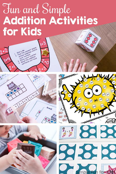 Learn and review addition facts with kindergarteners and first graders with these Fun and Simple Addition Activities for Kids! Clip cards, mini folding books, games, play dough, and more!