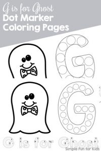 Help your preschooler or toddler to get to know the letter G with these cute G is for Ghost Dot Marker Coloring Pages! {Part of the 7 Days of Halloween Printables for Kids series.}