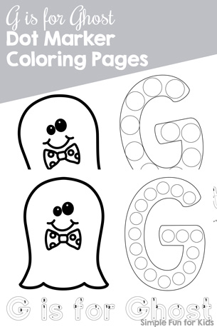 G is for Ghost Dot Marker Coloring Pages