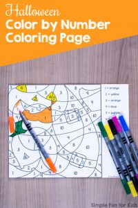 Great for fine motor skills, practicing color sight words, and number recognition: Halloween Color by Number Coloring Page for preschool and kindergarten.
