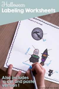 Practice seasonal vocabulary and fine motor skills with these cute Halloween Labeling Worksheets! Differentiated with 3 versions: copying, handwriting, and cut and paste for preschoolers and kindergarteners. {Day 5 of the 7 Days of Halloween Printables series.}