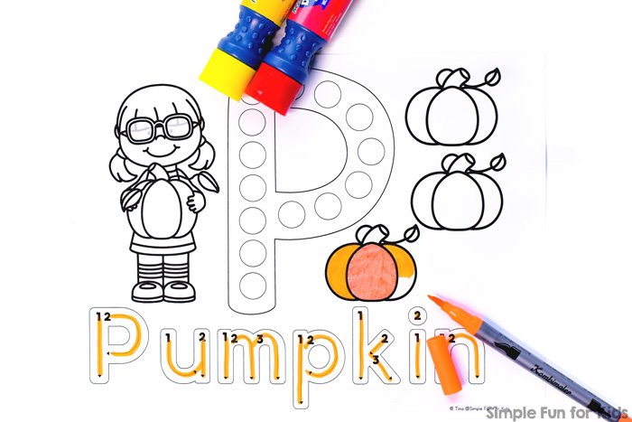 Give your toddler or preschooler a simple introduction to the letter P with these cute P is for Pumpkin Dot Marker Coloring Pages! Now includes a font with directional arrows and numbers for tracing. Part of the 7 Days of Pumpkin Printables for Kids series.