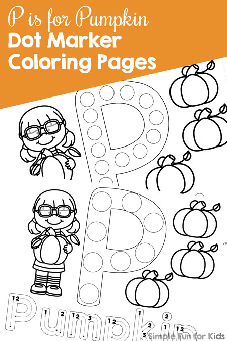 Marker coloring pages give your toddler or preschooler a simple introduction to the letter p with these cute p
