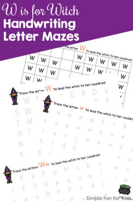 W is for Witch Handwriting Letter Mazes